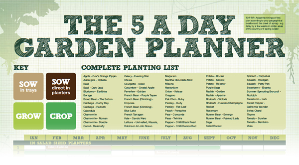 The 5 A Day Garden Planner