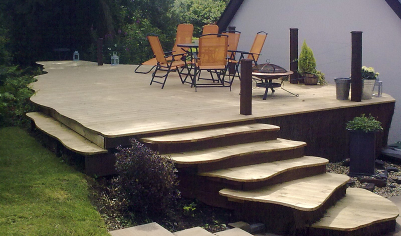 Curved Timber Stepped Decking