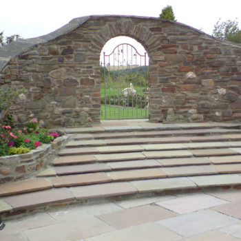 Stone wall and steps plus gate
