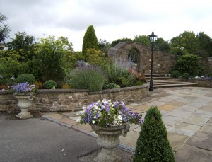 Stone Archway and Flower Beds