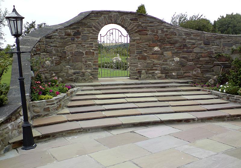 Stone Steps Metal Ornate Gate