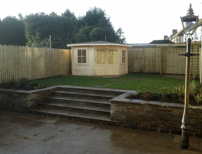 Summer House and Raised Lawn Steps