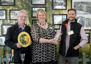 Best Trade Stand Award presented to Richard Davis (left) and Adam Davis (right) of Evergreen Landscape Gardening by RHS Director-General Sue Biggs at the RHS Flower Show Cardiff 2015