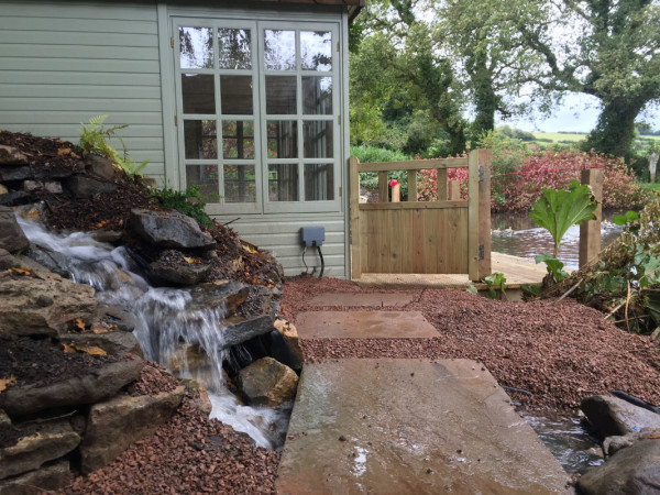 Water feature by boat house gate